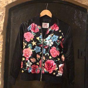 JUSTICE Girls Floral Satin Jacket